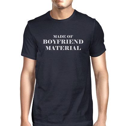Boyfriend Material Mens Navy Crewneck Cotton T-Shirt Unique Graphic