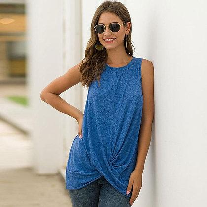 Irregular Hem Ruched Sleeveless T-shirt