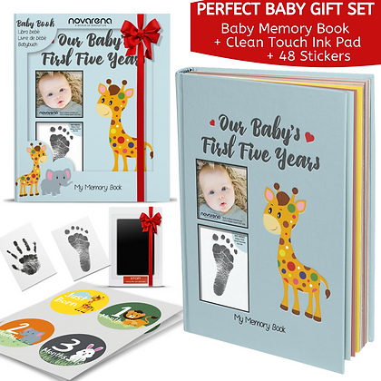 First 5 Years Baby Memory Book Journal Scrapbook With 48 Pack Monthly Milestones