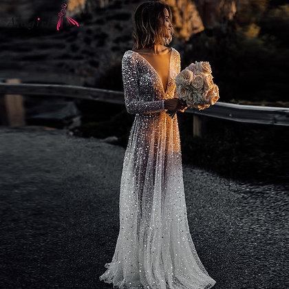 Boho Wedding Dress A-Line V-Neck Sleeves Wedding Dresses Backless Beach