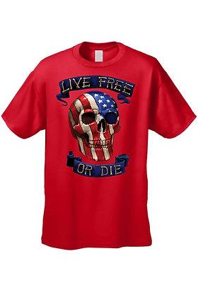 Men's/Unisex T Shirt USA Flag Skull Live Free or Die Short Sleeve Tee