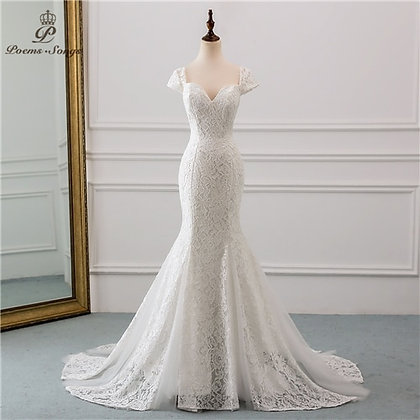 Cap Sleeve Style Lace Wedding Dress Mermaid Wedding Dresses Robe De Mariee