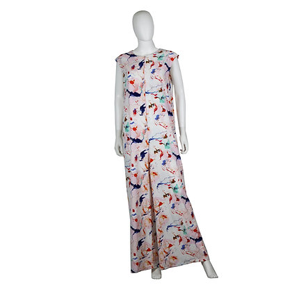 Abstract Print Wide Leg Jumpsuit