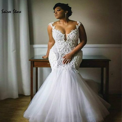 Mermaid Wedding Dresses Country Garde With Appliques Tulle Dress