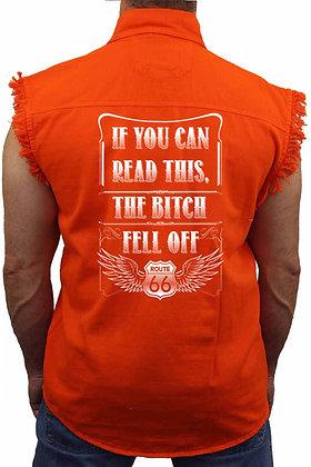 Men's Sleeveless Denim Shirt Can Read This, the B**ch Fell Off Biker
