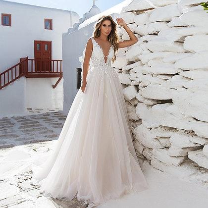 Verngo A-Line Wedding Dress Lace Appliques Wedding Gowns Elegant Bride Boho