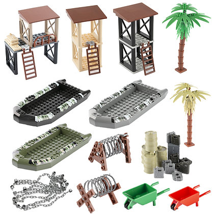 Military Accessories Building Blocks Sentry Port Oil Barrow Cart Ship Army Camo