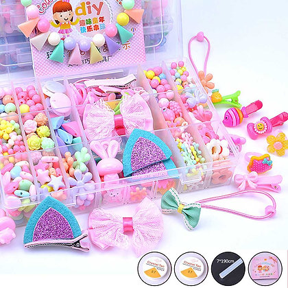 DIY Handmade Bead Toy With Accessory Set Creative Girl Jewelry Making Hair Clip