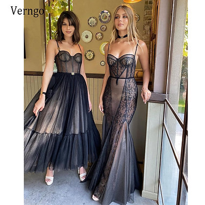 Modern Black a Line Short Dresses Spaghetti Straps Dotted Tulle Corset Evening