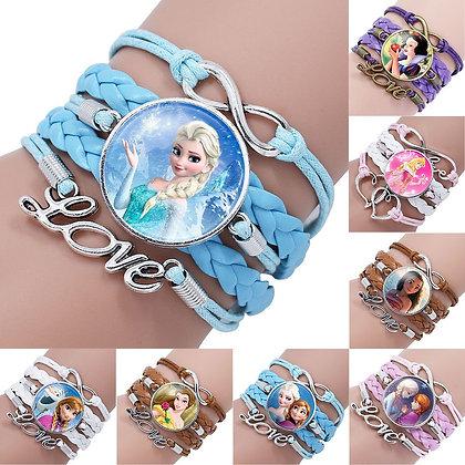 Disney Princess Children Cartoon Bracelet Frozen Elsa Lovely Wristband Girl Gift