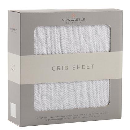 Herringbone Grey Crib Sheet