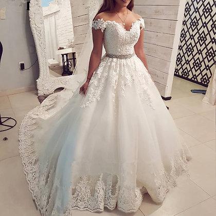 Off Shoulder Wedding Dress Boho Elegant Bridal Dresses Lace-Up Appliques