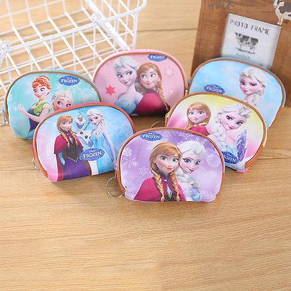 Disney Princess Children Cartoon Plush Coin Pu Purse Mermaid Frozen Girl Bag