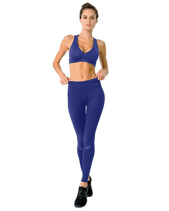 Athletique Low-Waisted Ribbed Leggings With Hidden Pocket and Mesh Panels - Navy