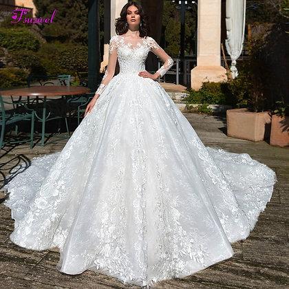 Long Sleeve Appliques Chapel Train Ball Gown Wedding Dress Luxury Beading