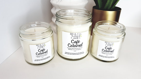 Cafe Caramel   Natural Soy Candle   Hand-Poured and Hand-Crafted