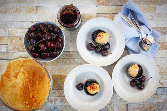 Native Cherries and Salted Caramel Ice Cream