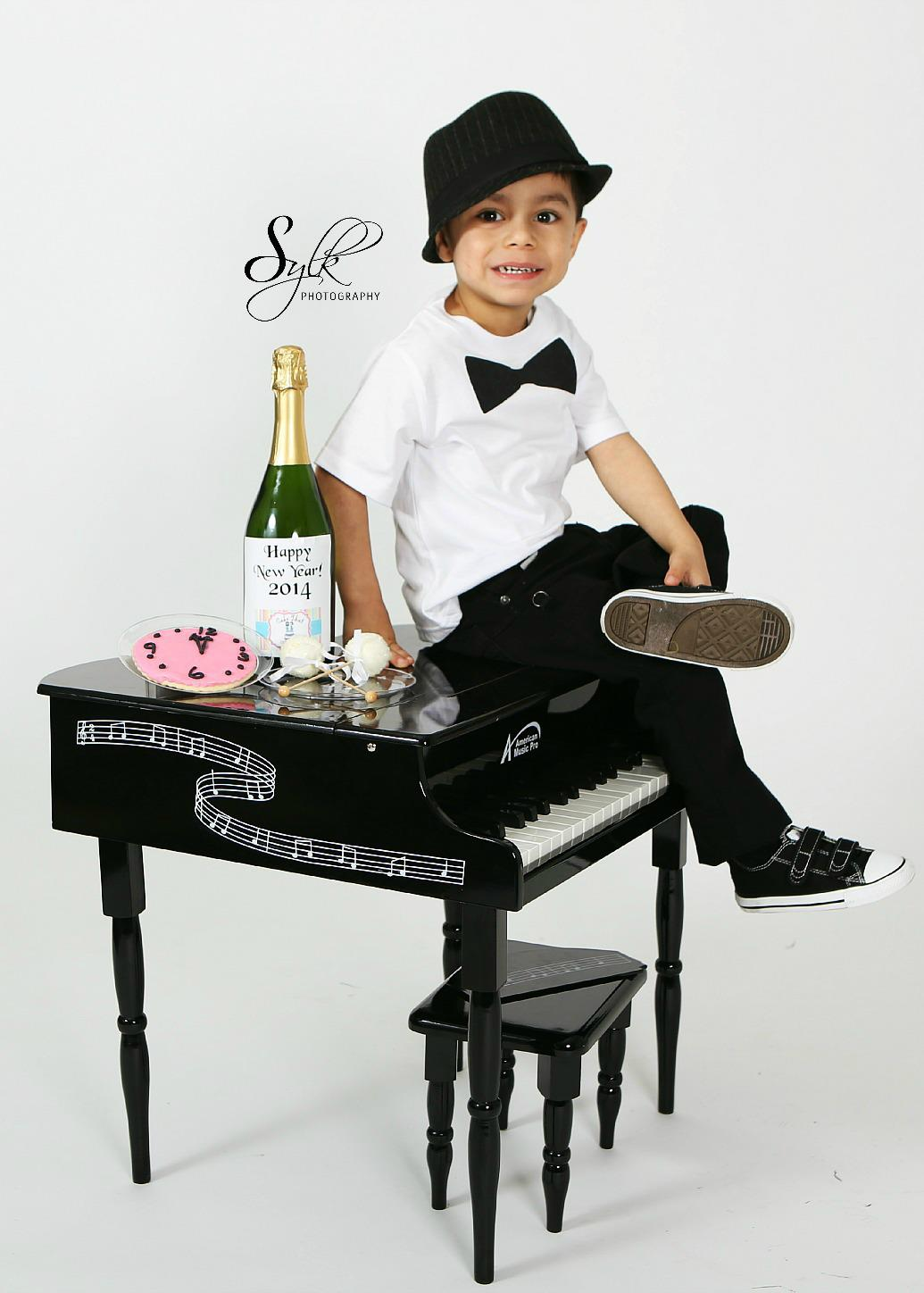 Boy's  black bow tie Tshirt $10