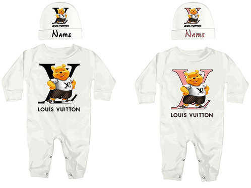 Louis Vuitton Winnie the Pooh baby romper and hat