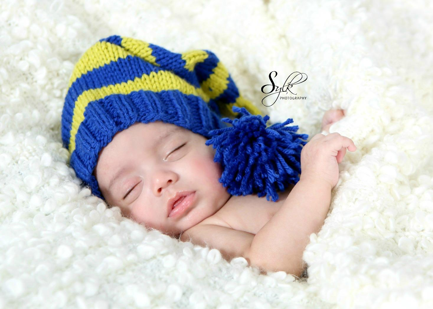 Hand crochet baby hat