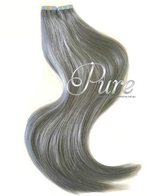 Russian Grade Tape In Hair Extensions Gunmetal Grey Metallic