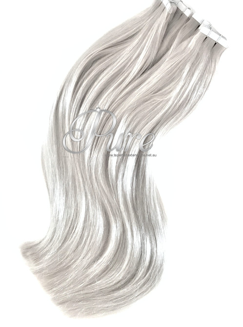 Silver Blonde Light Silver Tape Hair Extensions Luxury Russian