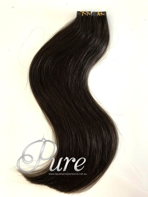 1b Darkest Brown Natural Black Tape Hair Extensions Luxury