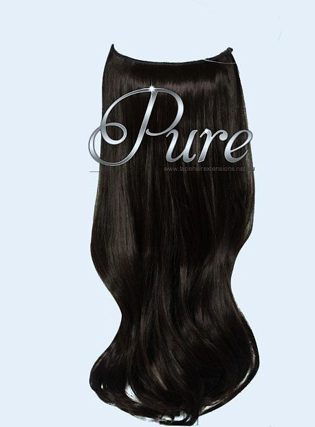 #1B DARKEST BROWN / NATURAL BLACKFLIP IN HALO HAIR EXTENSIONS