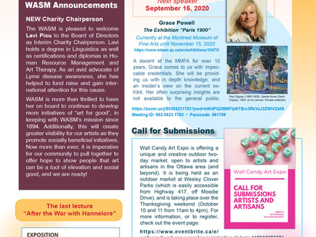 WASM Newsletter for September 7, 2020, and updated programme for Season 127