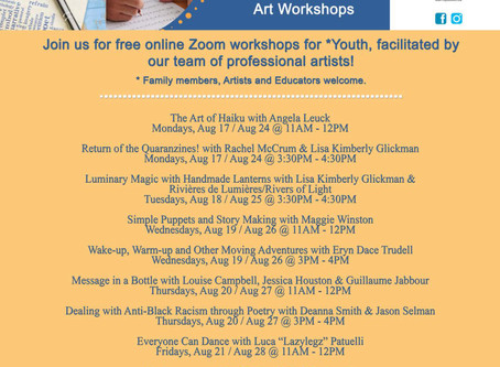 Lisa Kimberly Glickman invites all to participate in a variety of virtual workshops.