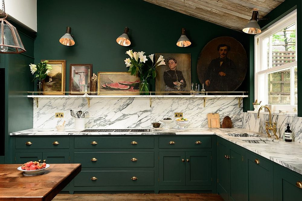 kitchen green marble pendent brixel architecture interior design branding trend