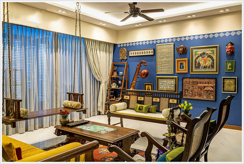 Indian decor paint blue living room south indian decor accent wall uprade drawing room brixel architecture