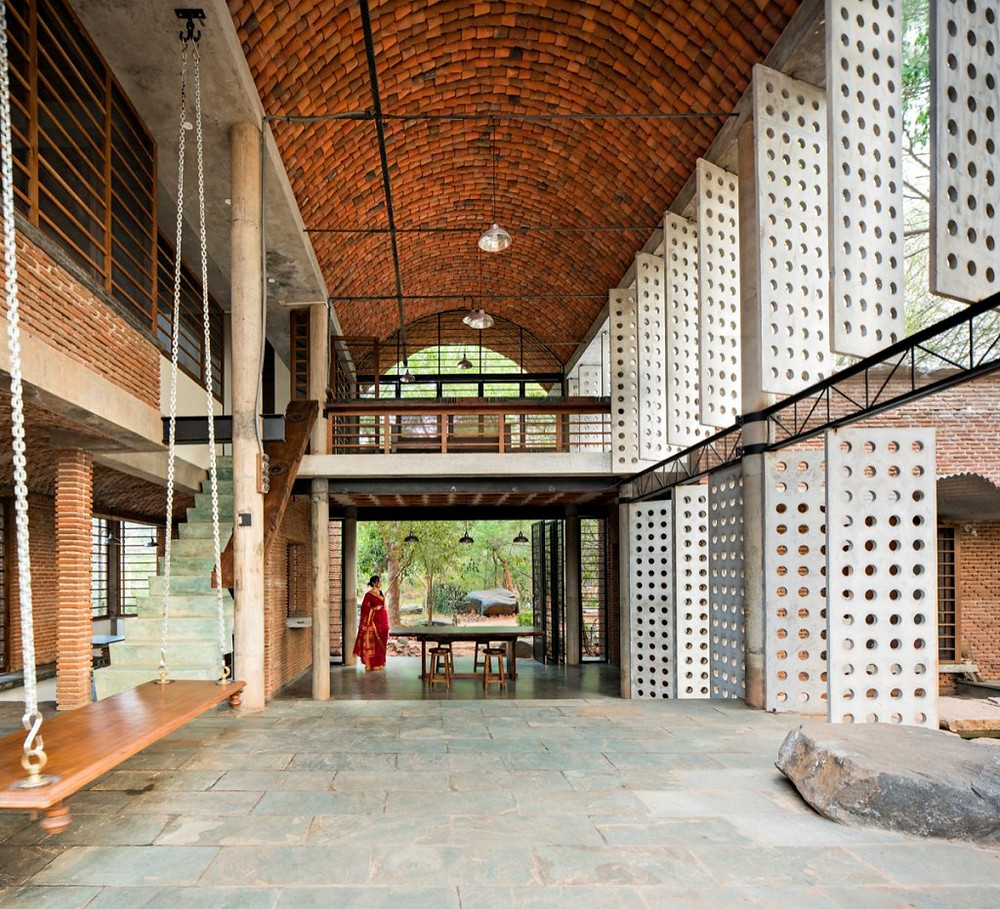 bio-climatic architecture sustainable green building vernacular Auroville