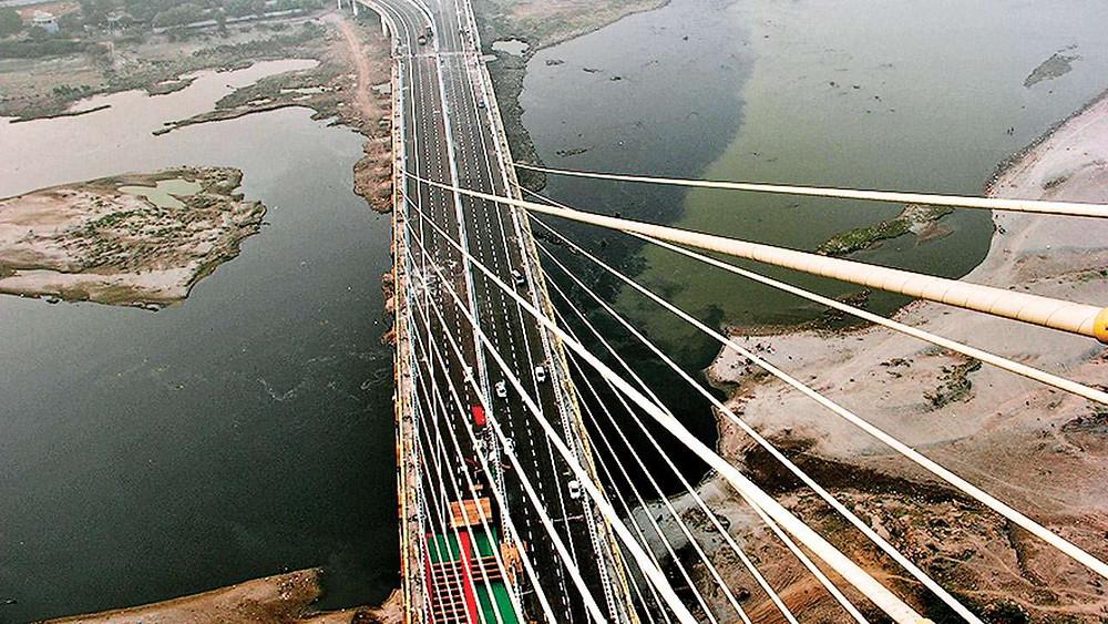Brixel Architecture Engineering Harp Design Asymmetrical Suspension Bridge Delhi India Travel Tourism