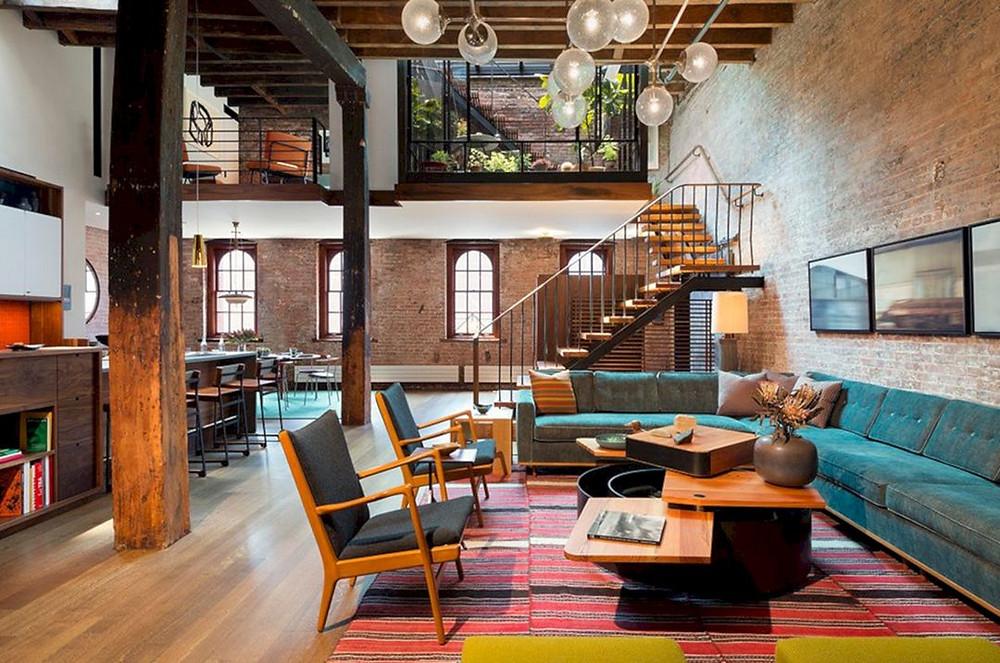 industrial decor style brixel interior design architecture color concrete exposed brick