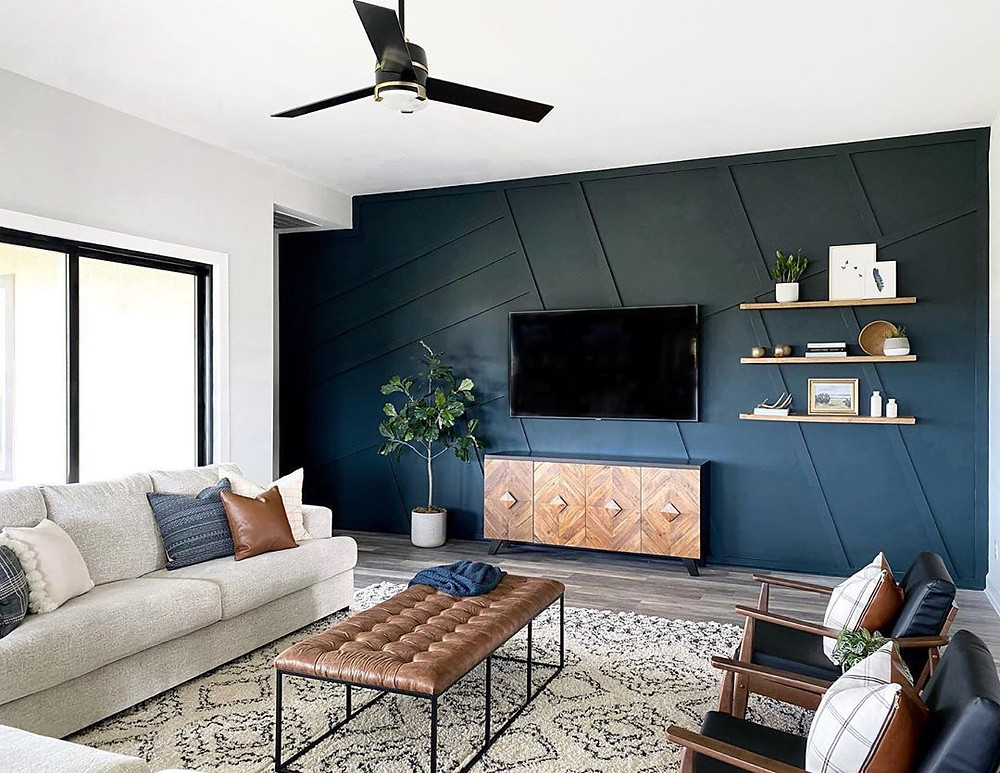 blue paneled accent wall leather coffee table upgrade living space brixel architecture interior design