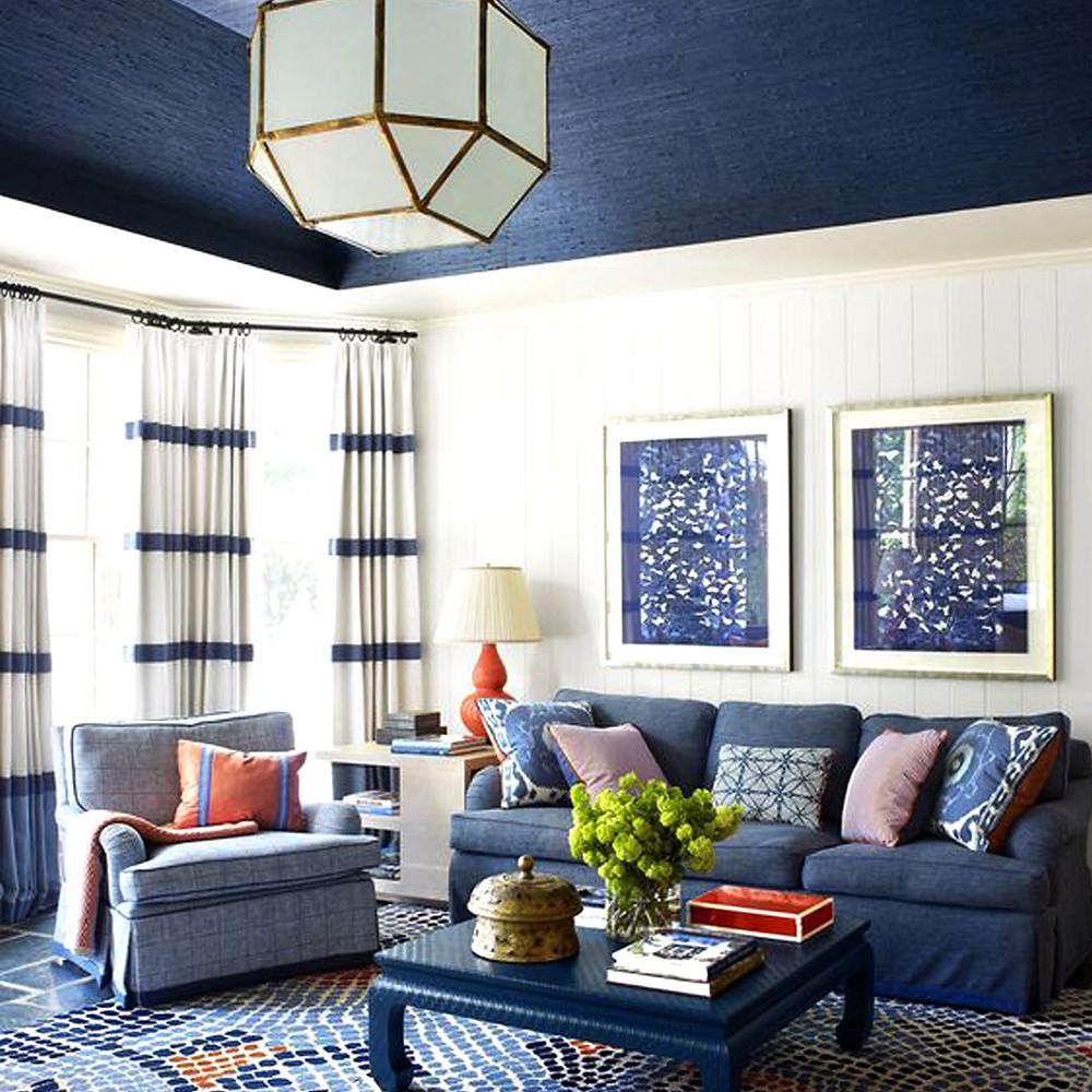 Soft furnishing blue living room mosaic floor brixel architecture upgrade decor
