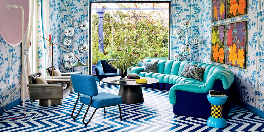 Lapo Elkann blue living room Milan Fiat Heir drawing room lamp sofa coffee table Aztec print large window brixel architecture decor