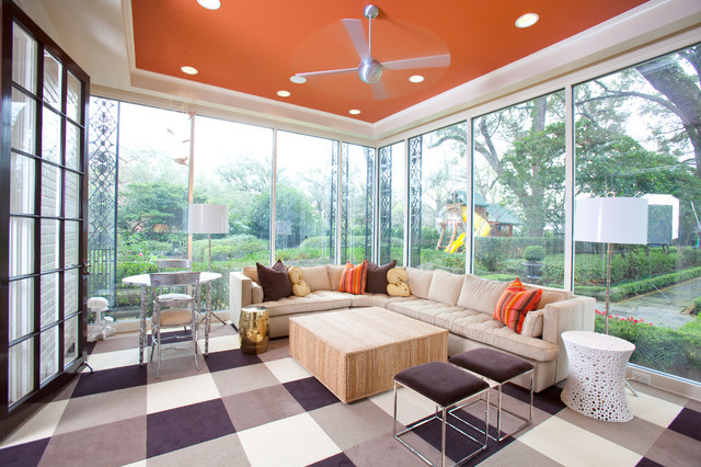 checkered floor rust ceiling upgrade living room brixel architecture