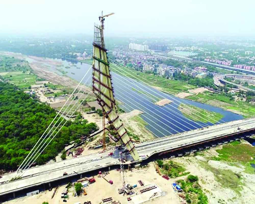Brixel Architecture Engineering Delhi Kejriwal Signature Bridge Namaste Asymmetrical Cable stayed Bridge New Delhi Wazirabad