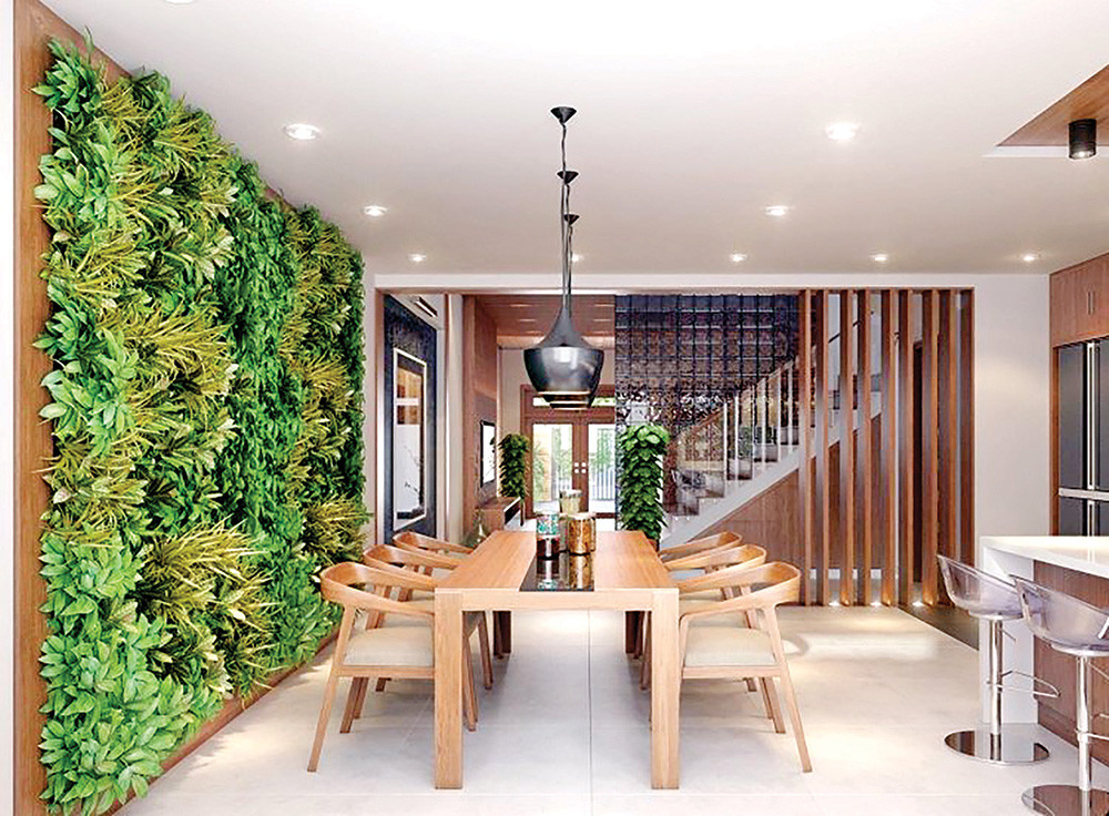 dining room table vertical garden plants foliage brixel architecture branding