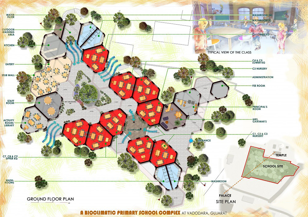Bio-climatic primary school Vadodara Gujarat India green Building Sustainable Learning centre