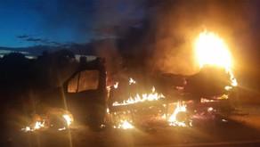 Caminhão carregado de carne e frios pega fogo na BR-050, em Catalão