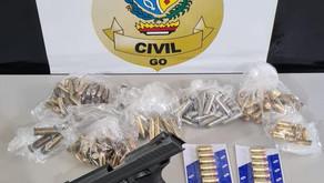 Homem é preso em Goiatuba de posse de arma furtada de policial civil
