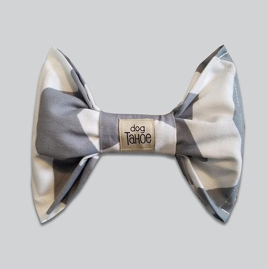 Gray and White Zig Zag Bow Tie