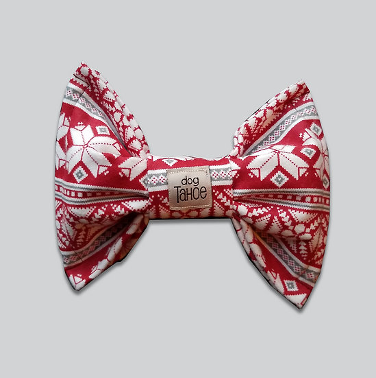 Winter Red and White Bow Tie