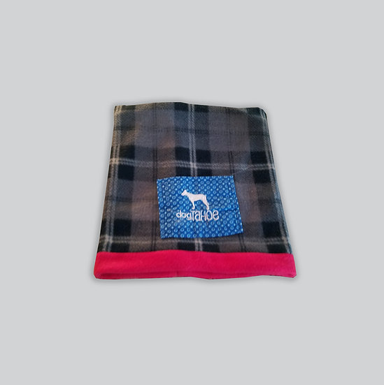 Reversible Fleece Neck Gaiter Gray Plaid and Red