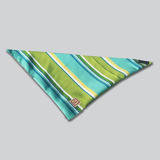 Green Blue Stripes Dog Bandana