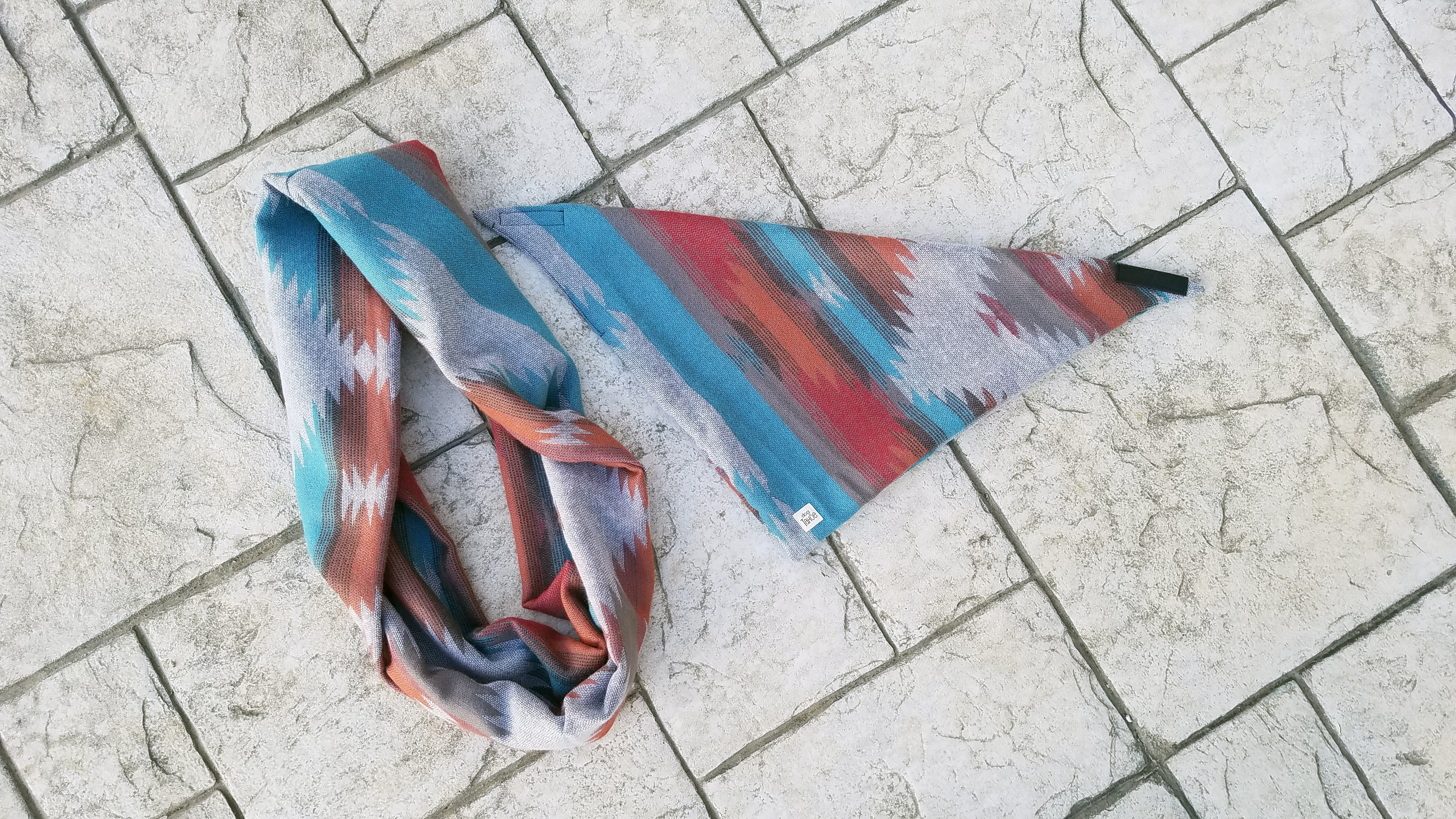 Declo Dog and human infinity scarves aztec woven