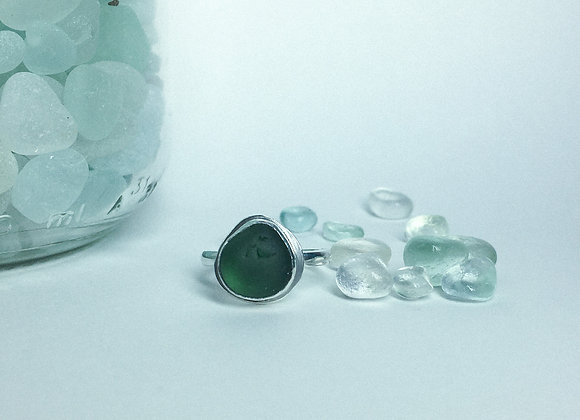Green Seaglass Ring - Size L (UK)